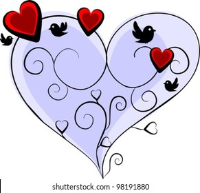 romantic blue heart with three red hearts and four birds - vector illustration
