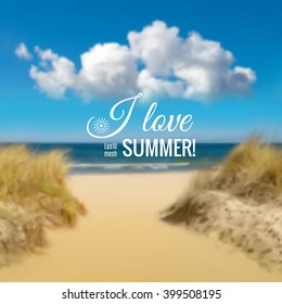 Romantic blurred background with seaside in Baltic Sea with space for your text