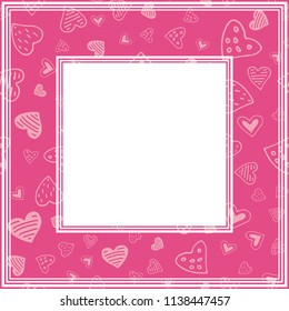 Romantic border with hearts. Valentines Day illustration. Design element for photo frame and romantic decorations.