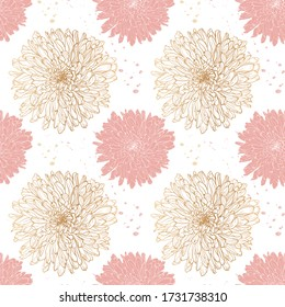 Romantic botanical pattern of chrysanthemum flowers in gold graphics and pink fill ,sketch vector graphic color illustration on white background for postcards, posters, notebooks.