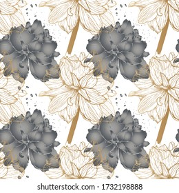 Romantic botanical pattern of   flowers - Lilies, in gold graphics and in grey fill ,sketch vector graphic color illustration on white background for postcards, posters, notebooks.