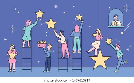 Romantic boys and girls picking stars in the night sky. flat design style minimal vector illustration.
