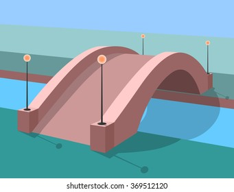 romantic bridge stone in park perspective vector illustration with shadows