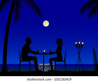 Romantic candlelight dinner on the tropical beach under the moonlight, vector illustration.