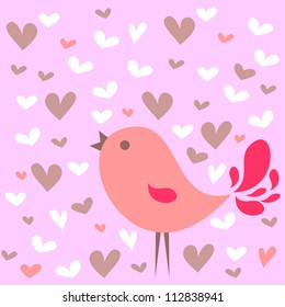 Romantic card with cute pink bird