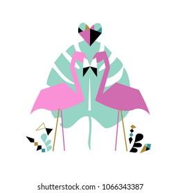 Romantic card with flamingo. Vector illustration