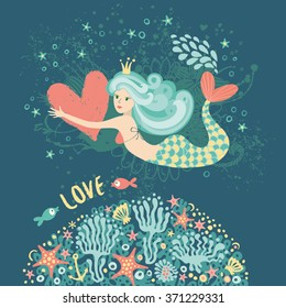 Romantic card with a mermaid.