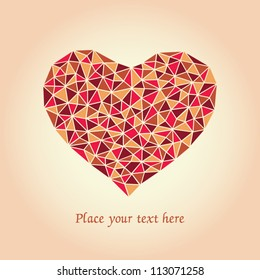 Romantic card with mosaic heart and place for your text