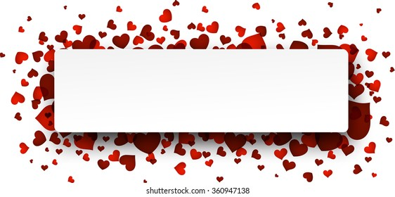 Romantic card with red hearts. Vector paper illustration.