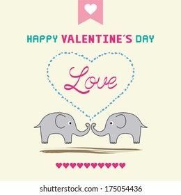 Romantic card with two elephants.