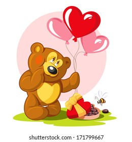 Romantic card for Valentine's Day. Teddy bear, balloons and a box of chocolates.