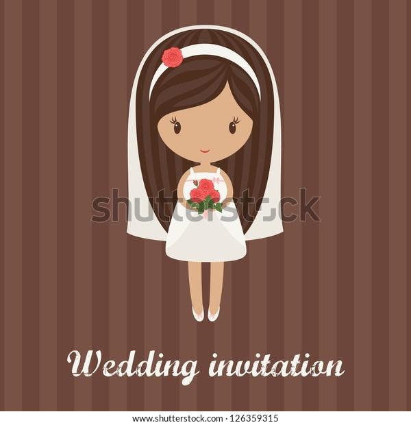 Romantic Cartoon Bride Holding Bouquet Roses Stock Vector