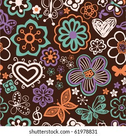 Romantic cartoon seamless pattern with flowers and butterflies