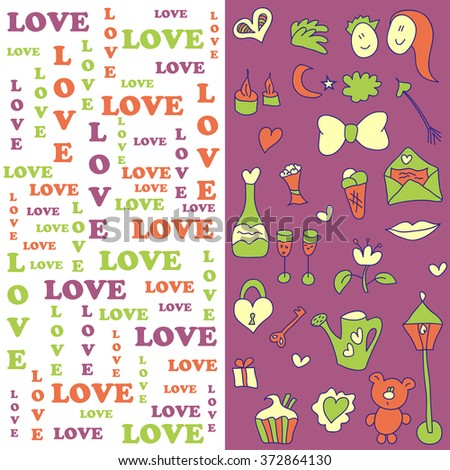 Romantic cartoon set in pastel colors. Cute illustration in vector about  love. 1d11b53f23038