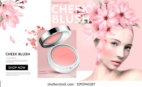 Romantic cheek blush with beautiful woman wearing floral head decoration in 3d illustration