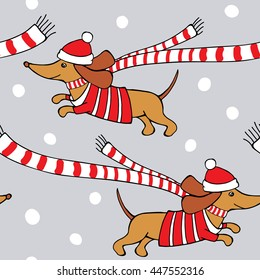 Romantic Christmas Seamless pattern with cartoon picture of a dog Dachshund in red jersey, scarf, Santa hat on gray snowflakes background. Vector illustration.