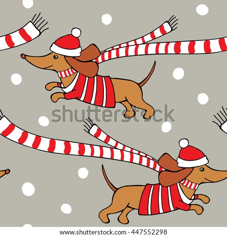 45b9397d5012b Romantic Christmas Seamless pattern with cartoon picture of a dog Dachshund  in red jersey
