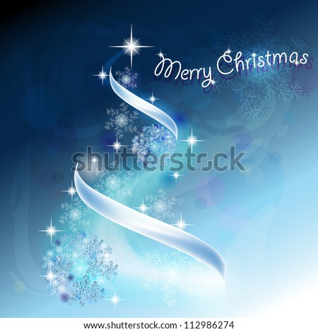 Romantic Christmas tree with snowflakes and ribbons in blue background