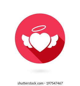 Romantic circular red winged heart icon with a long shadow and halo symbolising romance and love on Valentines Day  wedding  anniversary or engagement