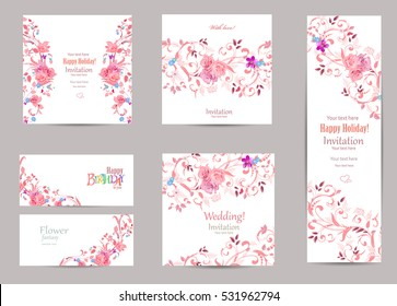 romantic collection of greeting cards with fancy flora for your design