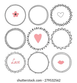 Romantic collection with hand drawn round frames. Vector illustration