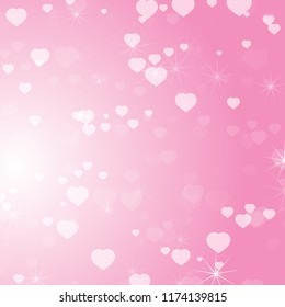 Romantic colored abstract background with hearts of different sizes. Simple flat vector illustration