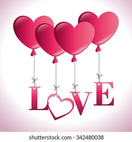 Romantic colorful card design with pink hearts graphic design, vector illustration