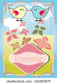 Romantic colorful floral background with little birds