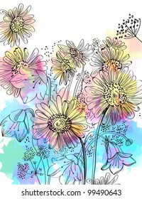 Romantic colorful flower background, vector