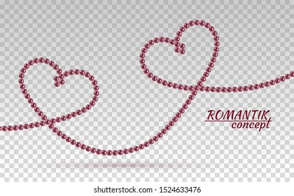Romantic concept beautiful natural jewelry shape two intertwined hearts. Luxury accessories symbol love. Pearl necklace. Thread pearls. Realistic white pearls isolated on background. Pearl chain heart