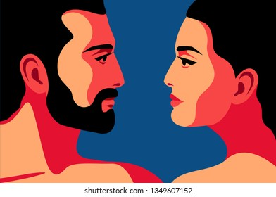 Romantic concept. Couple in love, man and woman, face to face, close-up portraits, side view. Vector illustration
