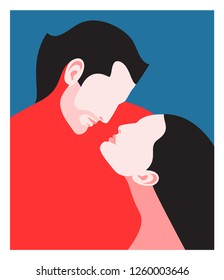 Romantic concept. Couple in love. Portraits of two lovers in profile, man and woman, face to face. Vector illustration