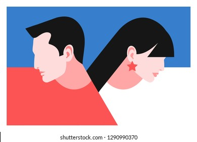Romantic concept. Couple in love, side view. Two lovers, man and woman, profile faces. Vector illustration