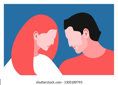 Romantic concept. Couple in love. Two lovers, man and woman, profile face. Vector illustration