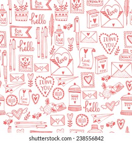 Romantic concept Seamless pattern. Love cute cartoon vector illustration.
