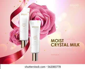 Romantic cosmetic ads, skin care set with ribbon and roses isolated on pink bokeh background, holiday limited edition in 3d illustration