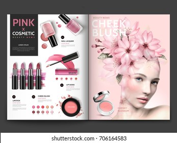 Romantic cosmetic magazine template, pink series make up products with floral decorated model portrait in 3d illustration, magazine or catalog brochure for design uses