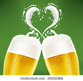 romantic couple of beer glass with foam like heart