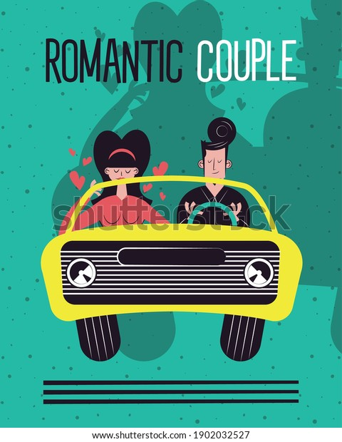 Romantic couple in car design, Relationship love and romance theme Vector illustration