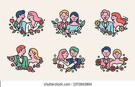 Romantic couple character logo in floral frame. flat design style minimal vector illustration