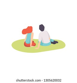 Romantic Couple Enjoying Picnic on Nature, Young Man and Woman Sitting on Grass, Back View Vector Illustration