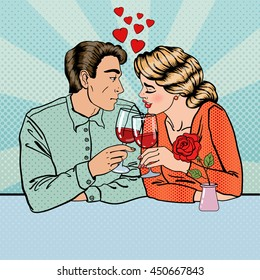 Romantic Couple with Glasses of Wine in Restaurant. Pop Art. Vector illustration