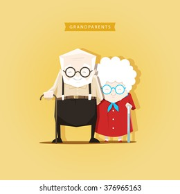 Romantic couple grandparents are standing next to each other - stock vector illustration