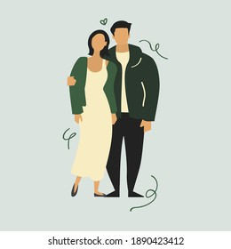 Romantic couple illustration. Boy and girl. Man with women. Bridge groom vector artwork. Wedding poster template. Marriage related flyer art.