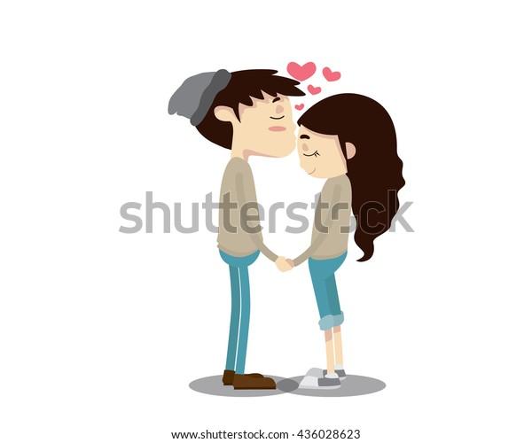 ロマンチックなカップルイラスト 額のキス のベクター画像素材 ロイヤリティフリー
