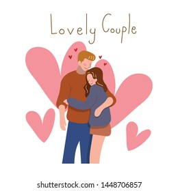 Romantic couple love hugging with a lovely. Use for Greeting cards, wedding invitation. Concept relationships, honeymoon, marriage, first dating theme and valentine's day. Illustration vector.