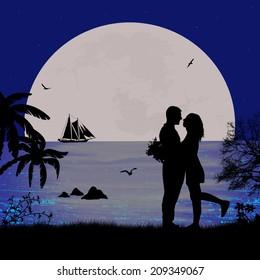 Romantic couple on the beach in beautiful seascape at sunset near ocean, vector illustration