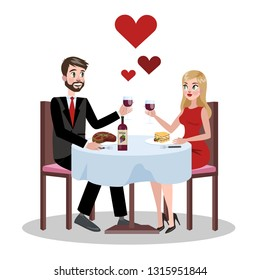 Romantic couple in restaurant on a date. Love between two people. Happy valentine day. Glass of wine on a table. Isolated vector illustration in cartoon style