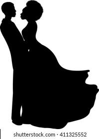 Romantic Couple Silhouette - Vector Illustration