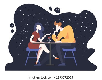 Romantic couple sitting in cafe. Man and woman in a restaurant. Vector illustration